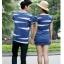 พร้อมส่ง-เสื้อคู่รักแฟชั่น ผ้าฝ้าย สีน้ำเงิน น่ารักๆ**ราคาขายเป็นคู่** thumbnail 4