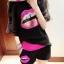 พร้อมส่ง-เสื้อ+กางเกงขาสั้นแฟชั่นน่ารัก (แยก 2 ชิ้น) สีขาว(รูปปากปักเลื่อม) แขนค้างคาว thumbnail 6