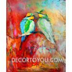 ภาพวาดนกคู่ Canvas 80x110 cm.