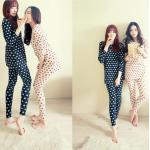 ชุดนอนเกาหลี เสื้อแขนยาว กางเกงขายาว ลายแมว สีเหลือง
