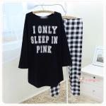 ชุดนอน PINK เซทเสื้อแขนยาว กางเกงยาว ลายสก๊อต สีดำ