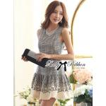 (พร้อมส่ง)Lady Ribbon's Made  Lady Ivy Prince of Wales and Hibiscus Print Ruffle Dress (ส่งฟรี)