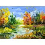 ภาพวาดวิวต้นไม้ ลำธาร  Canvas 50x70 cm.