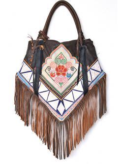 """Leather Embroidered Shoulder Bag (20x25"""")"""