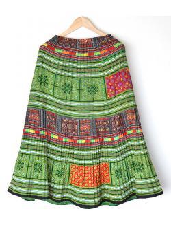 """Hilltribe Maxi Skirt - Green 1 (Waist 24-38"""")"""
