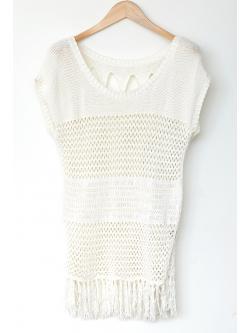 "Vintage Off-white Cotton Crochet Tunic (Bust 37"")"
