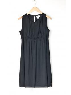 "Vintage Black Chiffon Working Dress (Bust 37"")"