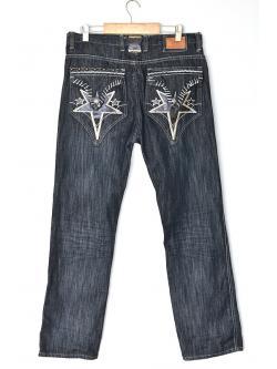 "Vintage Bohemian-style Black Jeans (Waist 34"" Hip; 46"")"