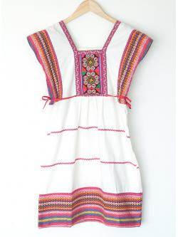 """Hilltribe Classic Dress - White & Pink (Bust 36"""")"""