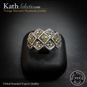 Checker-pattern Marcasite Silver Ring