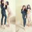 ชุดนอนเกาหลี เสื้อแขนยาว กางเกงขายาว ลายแมว สีเหลือง thumbnail 1