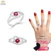 แหวนทองคำขาว ประดับเพชร CZ แหวนพลอยเม็ดชูสีชมพู ดีไซส์หรูหราเข้าได้กับทุกลุค เหมาะกับทุกโอกาส ระยิบระยับ เพอร์เฟ็คและเจิดจริสอย่างมีสไตล์