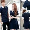 PRE-ORDER ชุดคู่รักน่ารัก เกาหลีใหม่เนื้อผ้าฝ้ายโปโลคอปก ญ.เดรสสั้น/ช.เสื้อคอปกแขนสั้น