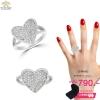แหวนเพชร ประดับ เพชรCZ แหวนทรงหัวใจฝังเพชรกลมขาว ฉลุช่วงบ่าแหวน ออกแบบอย่างคลาสสิกหรูหรา ดีไซน์ความสวยระดับไฮโซ