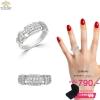 แหวนทองคำขาว ประดับเพชร CZ แหวนแถวฝังเพชรกลมขาว 2 แถวเพิ่มความเก๋ขอบแหวนฉลุร่อง ชิ้นงานมีความละเอียด ประณีต สวยงาม