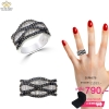 แหวนเงิน ประดับเพชร CZ แหวนดีไซน์คลาสสิคหน้าแหวนลายกากบาทไขว้ รูปทรงเพอร์เฟค แหวนเพชรสวยมากจนต้องบอกต่อ