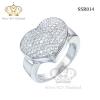 แหวนเงินแท้925เพรชประดับเพรชแท้สวิส เกรดดี น้ำใส