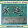 10x M3* 8mm Screws + 10x M3 Nuts (สกรูหัวกลม+น็อตตัวเมีย ขนาด 3มม ยาว 8มม)