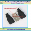 1x USB Socket Type- A Male 4 Pins Soldering Type Socket + Plastic Cover