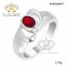 แหวนเงิน ประดับเพชร CZ แหวนพลอยทรงไข่เม็ดโตๆ สีแดงสดใส งานเนี๊ยบมาก แวววาว สำหรับสวมใส่ออกงานราตรี งานสังสรรค์ต่างๆ สะดุดตาประทับใจแก่ผู้พบเห็น