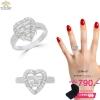 แหวนเงิน ประดับเพชร CZ แหวนหัวใจ ฝังเพชรสี่เหลี่ยม ล้อมรอบเพชรกลมขาว ดีไซน์ของแหวนดูเลอค่า แวววาวงามจับใจ เหมาะกับทุกไลฟ์สไตล์