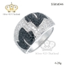แหวนเพชรcz ประดับเพชร CZ แหวนทรงใบไม้ฝังเพชรกลมดำตัดเพชรกลมขาว ดีไซน์คลาสสิค เพิ่มลุคเก่ๆสวยงามยามสวมใส่ รูปแบบและดีไซน์ทันสมัยมีความนิยม