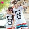 เสื้อคู่รัก ชุดคู่รัก เสื้อคู่ เสื้อยืดคู่รักผ้าฝ้าย สีขาว ลายแพนด้าน่ารัก