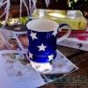 แก้วมักเซรามิกสีน้ำเงินลายดาว