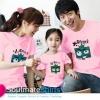 เสื้อครอบครัว ชุดครอบครัว พ่อ แม่ ลูก ลายการ์ตูนสีเหลี่ยมน่ารัก