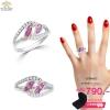 แหวนเงิน ประดับเพชร CZ แหวนทรงเกลียว ประดับเพชรสี่เหลี่ยมสีชมพูเคียงคู่เพชรกลมขาว แวววับงามจับใจ ชิ้นงานมีความละเอียด ประณีต สวยงาม