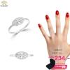 แหวนทองคำขาว ประดับเพชร CZ แหวนฉลุทรงกลมรี ฝังเพชรแถว แบบเรียบง่ายแต่คงไว้ซึ่งความคลาสสิคและความปราณีต ใส่ได้ทุกโอกาส