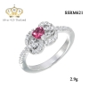 แหวนเงิน ประดับเพชร CZ แหวนพลอยทรงรูปหัวสีชมพู ล้อมเพชร ทรงแบบโมเดิร์น จัดเต็มแบบหรูๆ ดีเทลสวยตรึงใจ