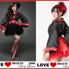 ชุดกิโมโน กระโปรงพองสีดำ และ สีแดง