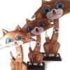 ตุ๊กตาไม้แกะสลัก แมวเจ้าเลห์ แอลฟี่ (เซ็ท 3 ตัว)