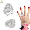 แหวนเพชร ประดับ เพชรCZ แหวนทรงหัวใจ ฝังเพชรแบบเต็มหัวใจ ก้านแหวนเรียว ดีไซน์อ่อนช้อยมีมิติ แบบเรียบง่ายใส่ได้ทุกโอกาส