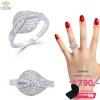 แหวนเงิน ประดับเพชร CZ แหวนทรงใบไม้ ฝังเพชรกลมขาวเพชรประกายแวว วาว ดีไซน์สวยหรูหรา เพิ่มความมั่นใจของคนรุ่นใหม่
