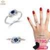 แหวนเงิน ประดับเพชร CZ แหวนพลอยทรงรูปหัวใจสีน้ำเงิน ล้อมเพชร ทรงแบบโมเดิร์น จัดเต็มแบบหรูๆ ดีเทลสวยตรึงใจ