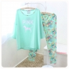 ชุดนอน PINK เซทเสื้อแขนยาว กางเกงยาว ลายดอกไม้ สีเขียว