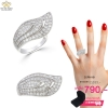 แหวนเงิน ประดับเพชร CZ แหวนใบไม้ ดีไซน์สวยหรูมีความอ่อนช้อย เพิ่มความหรูหราให้กับเรียวนิ้วมือ