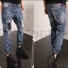PRE-ORDER กางเกงยีนส์ขายาวแฟชั่นใหม่ กางเกงยีนส์ฟอกขายาวจั๊มขาแต่งหลุมแพทช์ขาด ออกแบบแฟชั่นทันสมัย
