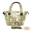 กระเป๋า Chalita wu + สะพาย สีเขียว ลายดอกไม้