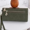กระเป๋าสตางค์ หนังกลับ สี Olive green (เขียวขี้ม้า)