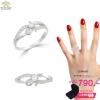 แหวนทองคำขาว ประดับเพชร CZ แหวนเพชรเม็ดชู บ่าฉลุฝังเพชรเรียงแถว ดีไซน์โฉบเฉี่ยวทันสมัยควรค่าแก่การครอบครอง ใส่ติดนิ้วได้ทุกงาน