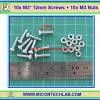 10x M3* 12mm Screws + 10x M3 Nuts (สกรูหัวกลม+น็อตตัวเมีย ขนาด 3มม ยาว 12มม)