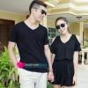 เดรสคู่รัก ชุดคู่รักเกาหลี ผู้ชายเสื้อยืดคอวีสีดำ ผู้หญิง เดรสสีดำเปิดไหล่ ผ้านิ่มใส่สบายมากค่ะ