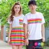 เสื้อคู่ เสื้อคู่รัก ชุดพรีเวดดิ้ง ชุดคู่รัก เสื้อคู่รักเกาหลี เสื้อผ้าแฟชั่น ผู้ชายเป็นเสื้อคอกลม+ผู้หญิงเป็นเดรสแขนสั้น กระโปรงสีรุ้ง ตัดกับเสื้อสีขาว ใส่เดินชิว เที่ยวทะเล ถ่ายพรีเวดดิ้งได้สวยงามมากๆคะ
