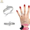 แหวนทองคำขาว ประดับเพชร CZ แหวนดอกพิกุลไขว้ชนกัน ให้ลุคกลางวันสบายๆ เปล่งประกายแวววาวตั้งแต่เช้าจรดค่ำ