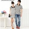 เสื้อคู่ เสื้อคู่รัก ชุดคู่รัก เสื้อคู่รักเกาหลี เสื้อผ้าแฟชั่น ผู้ชายเสื้อยืดคอปก สีขาวลายขวางสีดำ ผู้หญิงเดรสแขนสั้นคอปก สีขาวลายขวางขาวดำ ดูเรียบหรู สปอร์ตนิดๆ