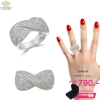 แหวนเพชร ประดับ เพชรCZ แหวนทรง กากบาทฝังเพชรกลมขาว ดีไซน์ความสวยระดับไฮโซ ประดับเพชรสุดหรู