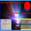 5x RGB Slow Flashing Rainbow LED Super Bright 5mm + 5x Resistor 220 Ohm 1/4W 1%